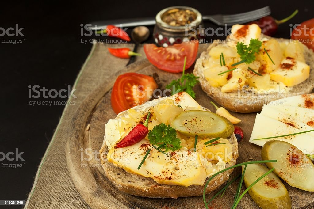 Two kinds of cheese on bread. Healthy breakfast stock photo