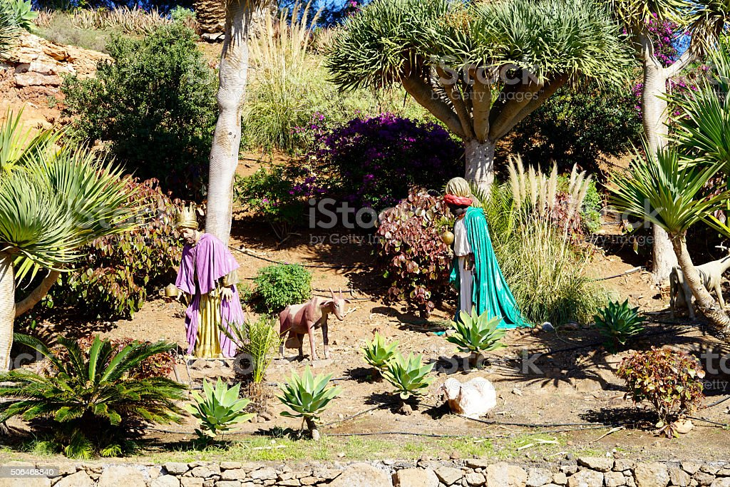two kings and animals of a big creche stock photo