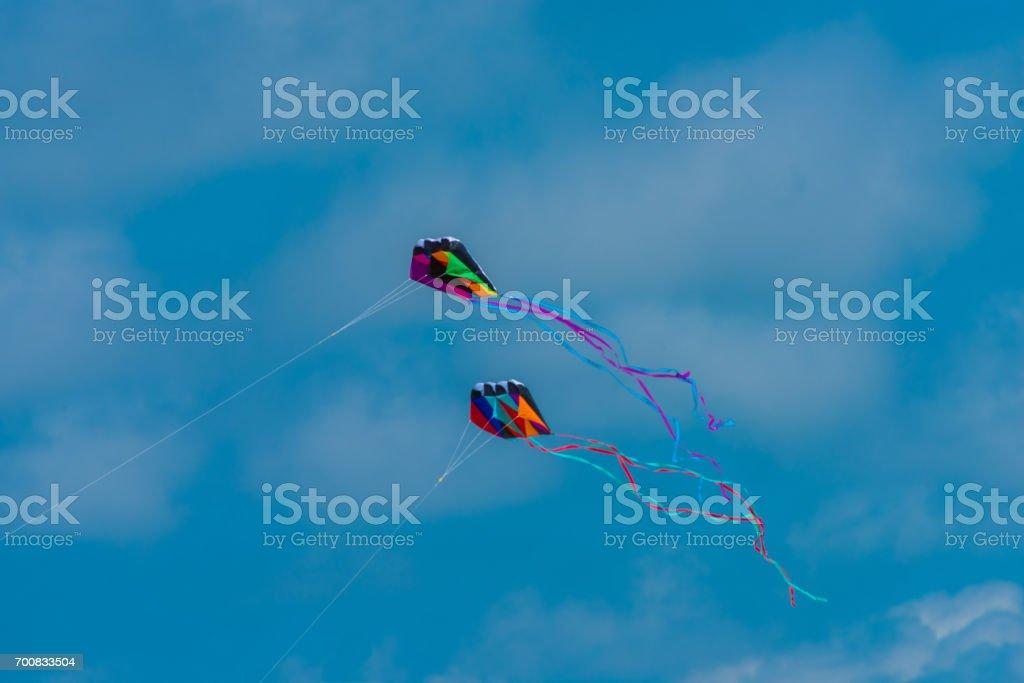 Two Kites Flying stock photo