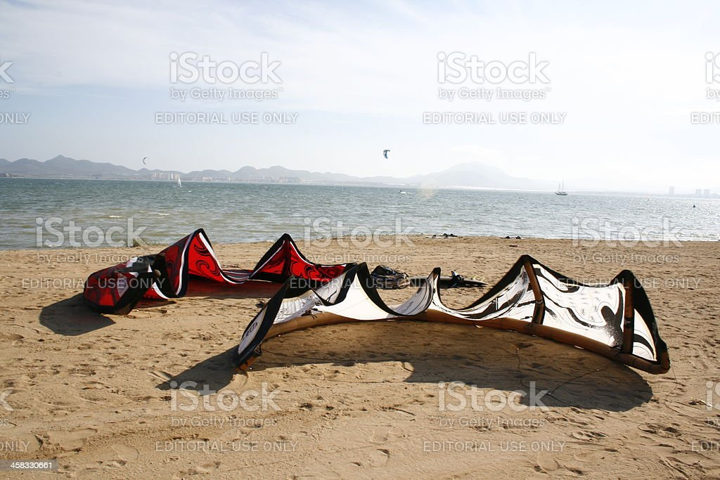 Two kitesurf kites stock photo