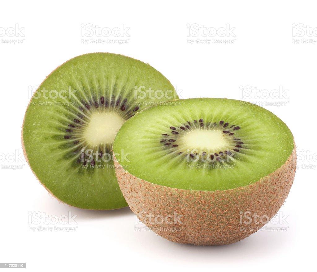 Two kiwi fruit sliced halves stock photo