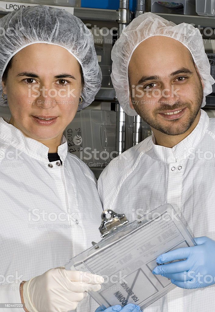 Two Lab Technicians with Clipboard stock photo