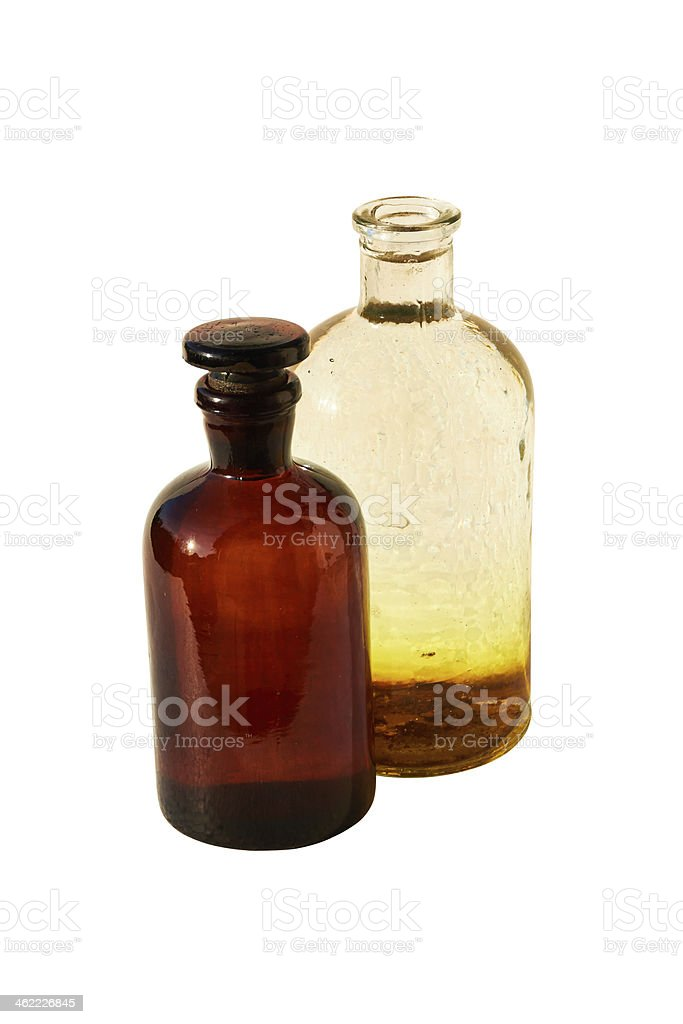 Two laboratory flasks royalty-free stock photo