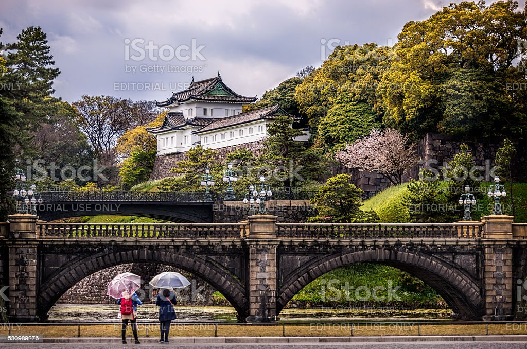 Two ladies in front of the Imperial Palace stock photo