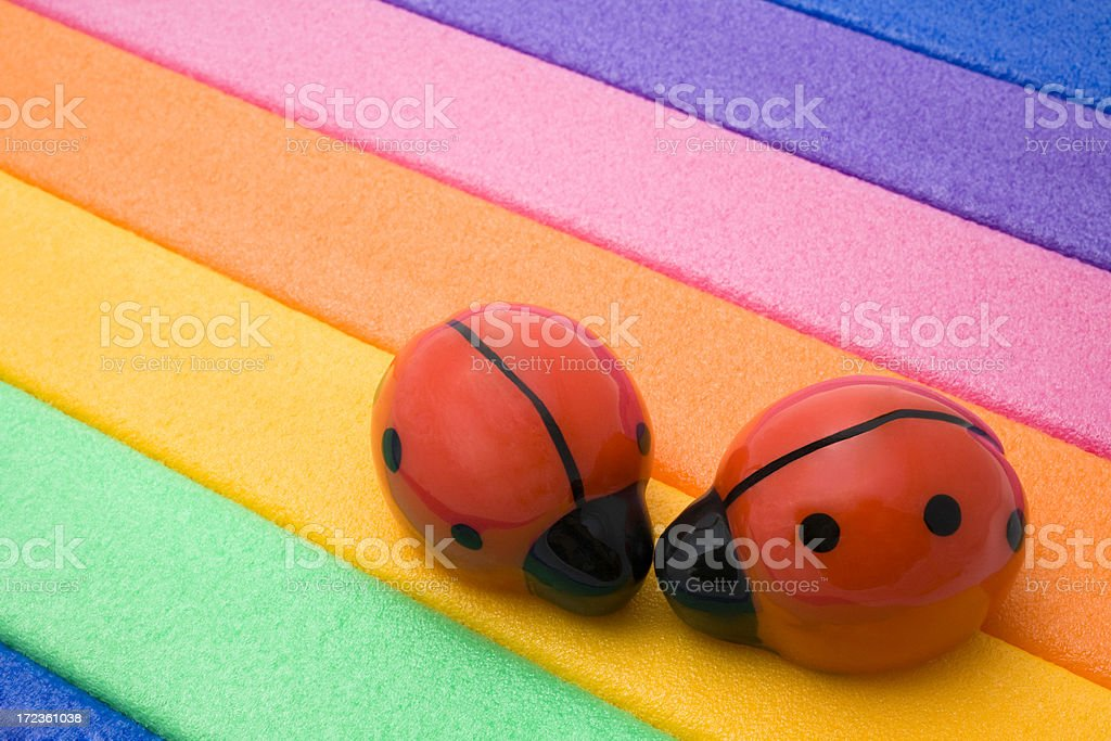 Two ladybird in a rainbow background royalty-free stock photo
