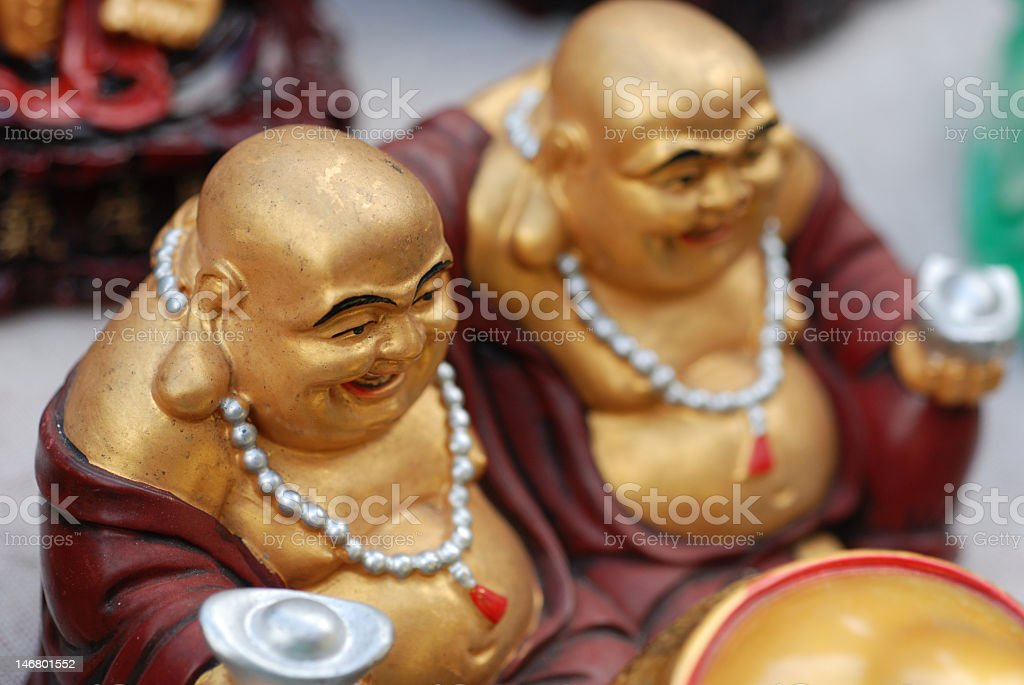 Two Laghing Buddhas royalty-free stock photo