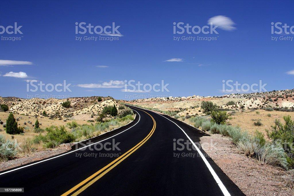 Two Lane Highway in the Utah desert stock photo
