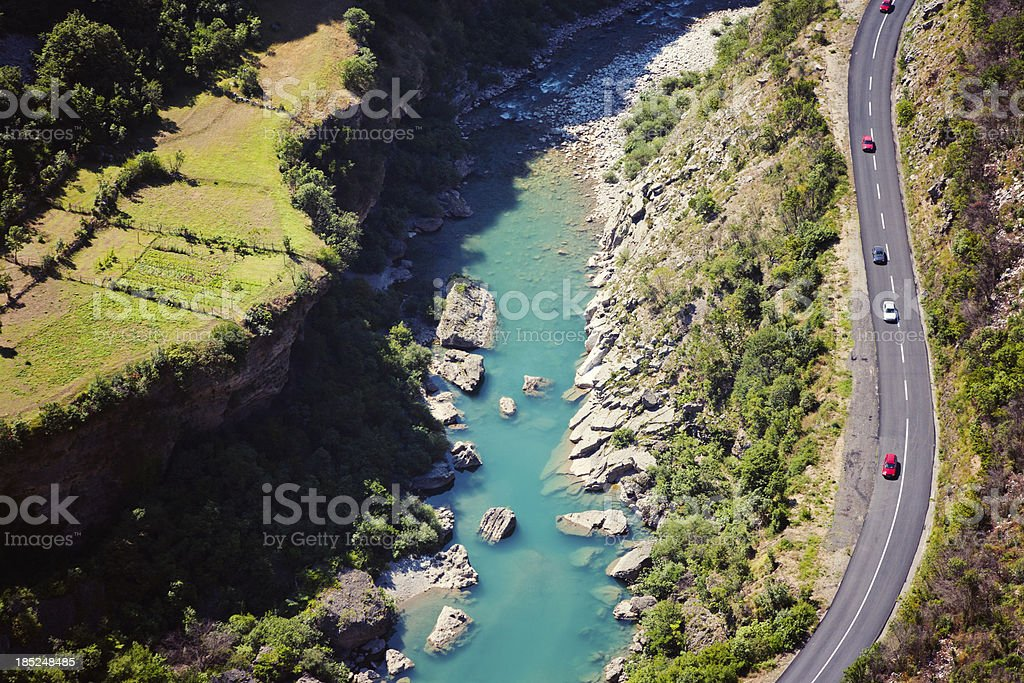 Two lane road, aerial view stock photo