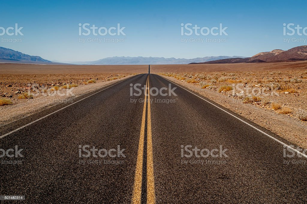Two Lane Road, Death Valley National Park, California. stock photo