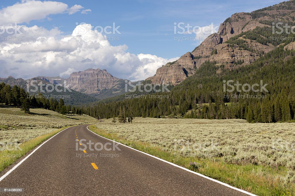 Two Lane Road Transportation Yellowstone National Park Wyoming stock photo