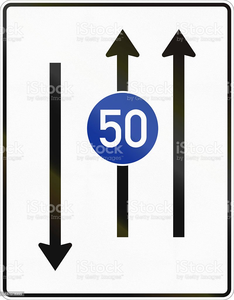 Two Lanes With Minimum Speed And Oncoming Traffic stock photo