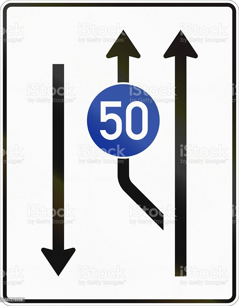Two Lanes With Minimum Speed Beginning - Oncoming Traffic stock photo