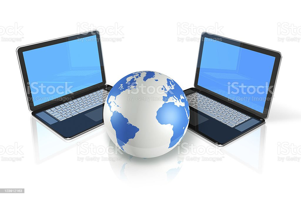 two Laptop computers around a world globe royalty-free stock photo