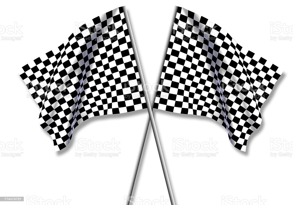Two large Checkered Flag stock photo