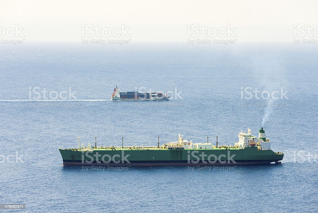 Two Large Container Ships royalty-free stock photo