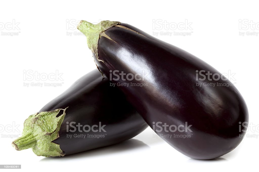 Two large eggplants isolated on white background stock photo