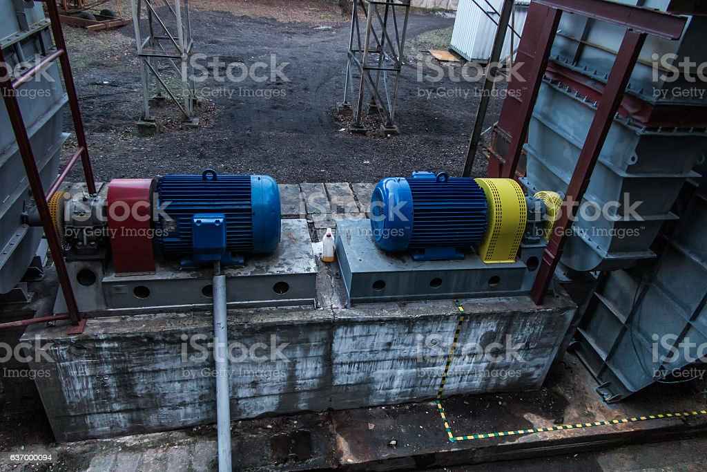 two large electric motors stock photo