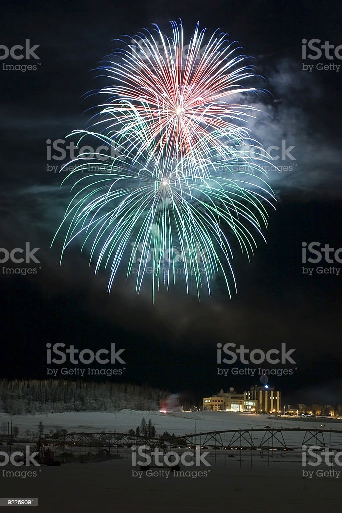 Two large fireballs royalty-free stock photo