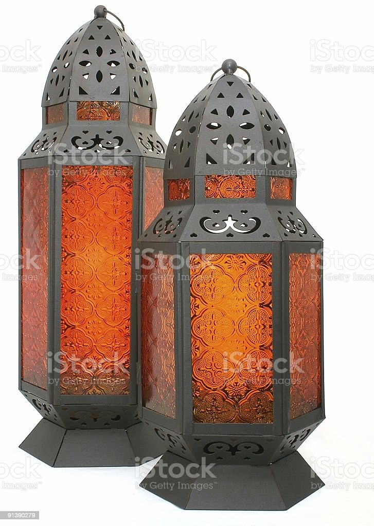 Two Laterns with Orange Glass royalty-free stock photo