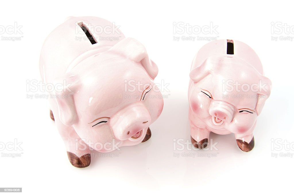 Two laughing pink piggy bank stock photo
