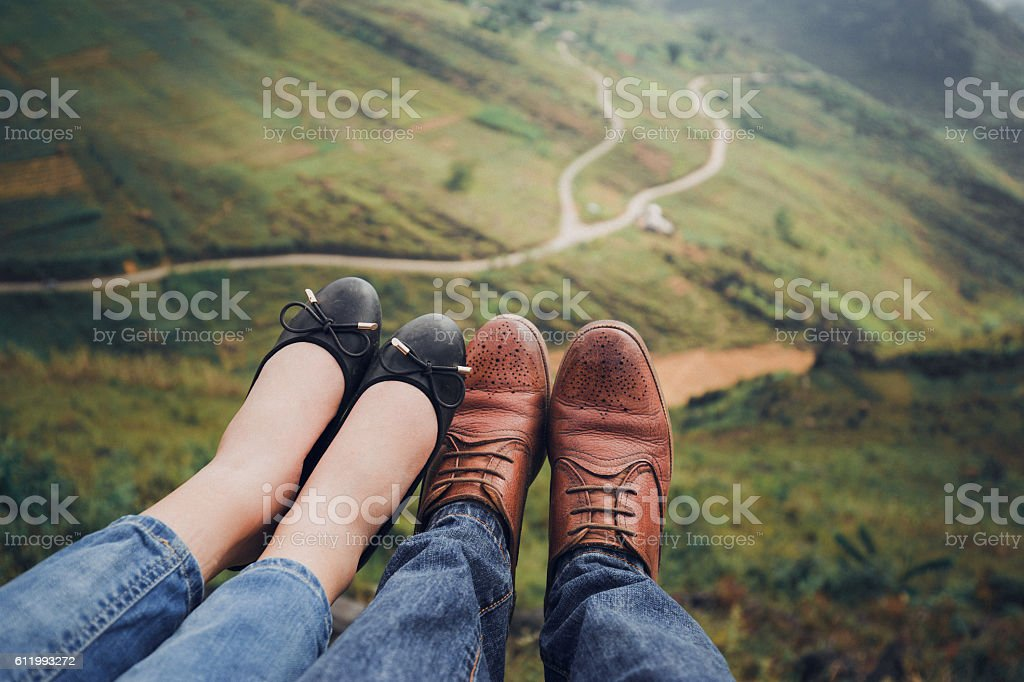 Two legs at mountain pass Hagiang, VietNam stock photo