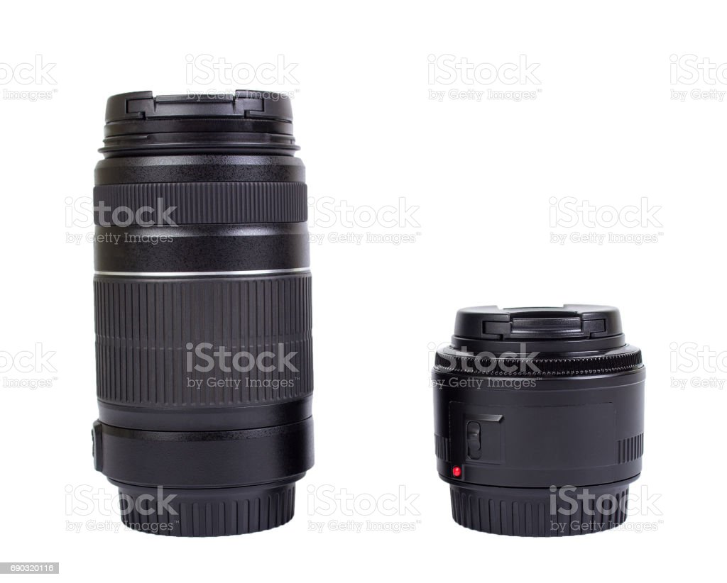 Two lenses for the camera, isolated stock photo