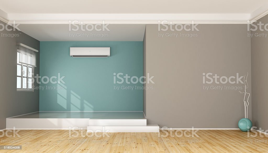 Two levels modern living room without furniture stock photo