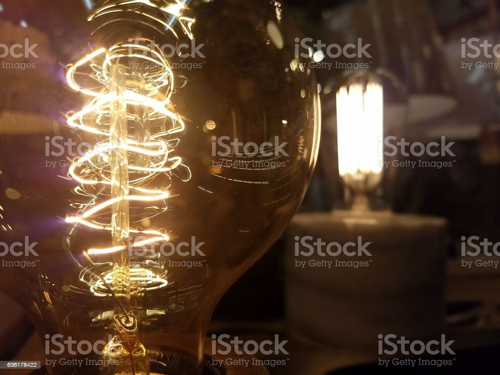 Two Light Bulbs Brightly Lit stock photo