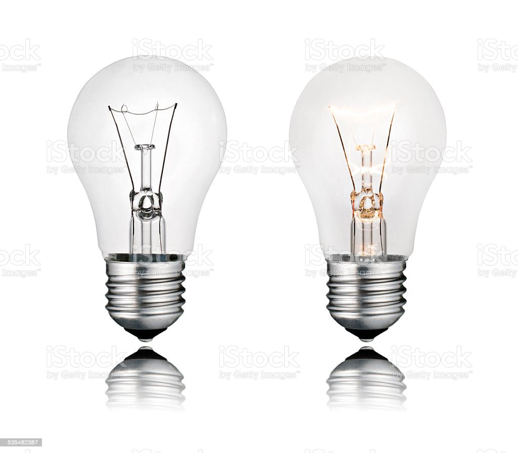 Two Lightbulbs On and Off with Reflection Isolated stock photo