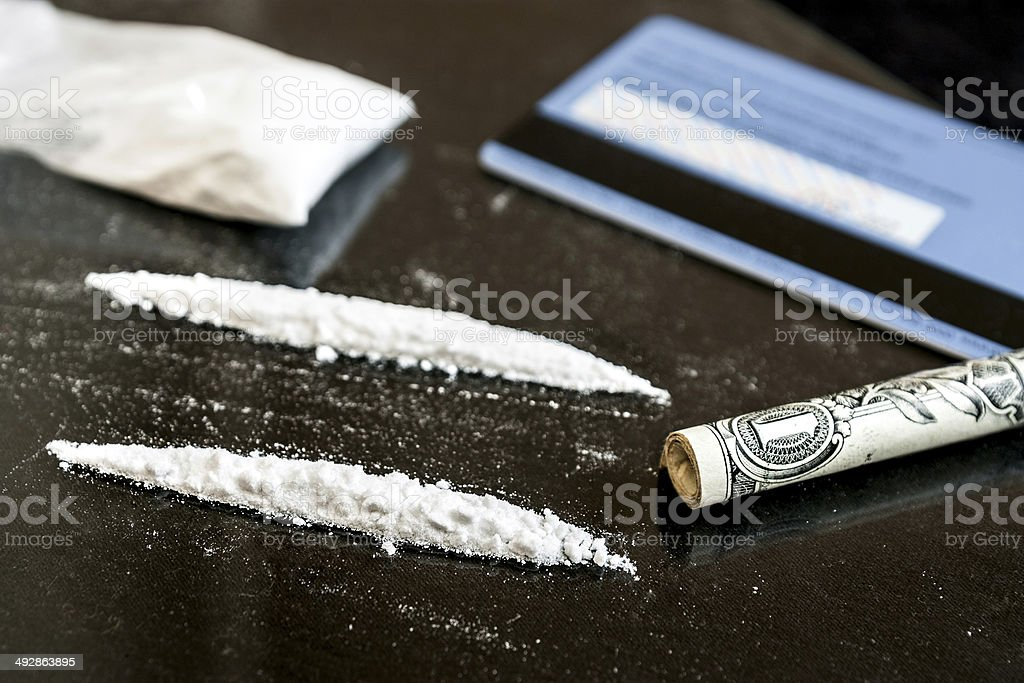 Two line of cocaine stock photo
