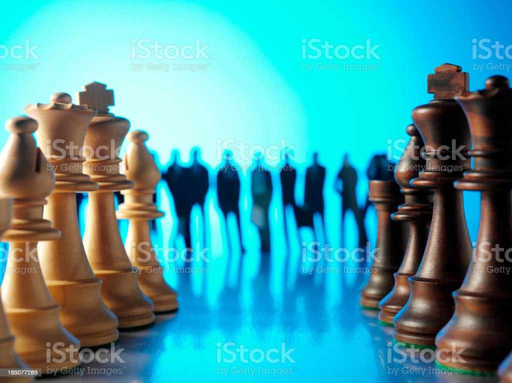 Two Lines of Chess with a Business Team stock photo
