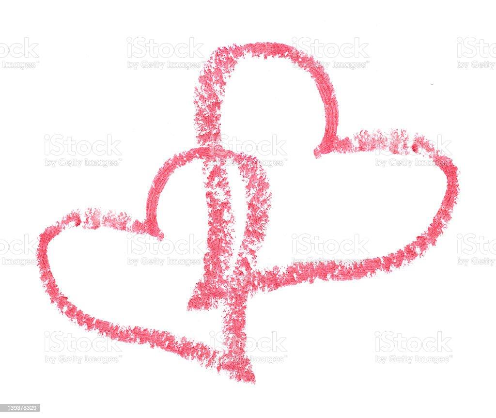Two Lipstick Hearts royalty-free stock photo