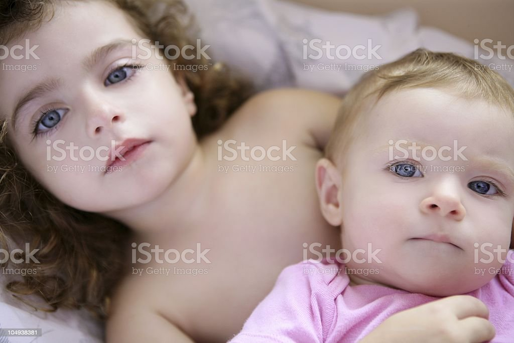 Two little beautiful toddler sisters royalty-free stock photo