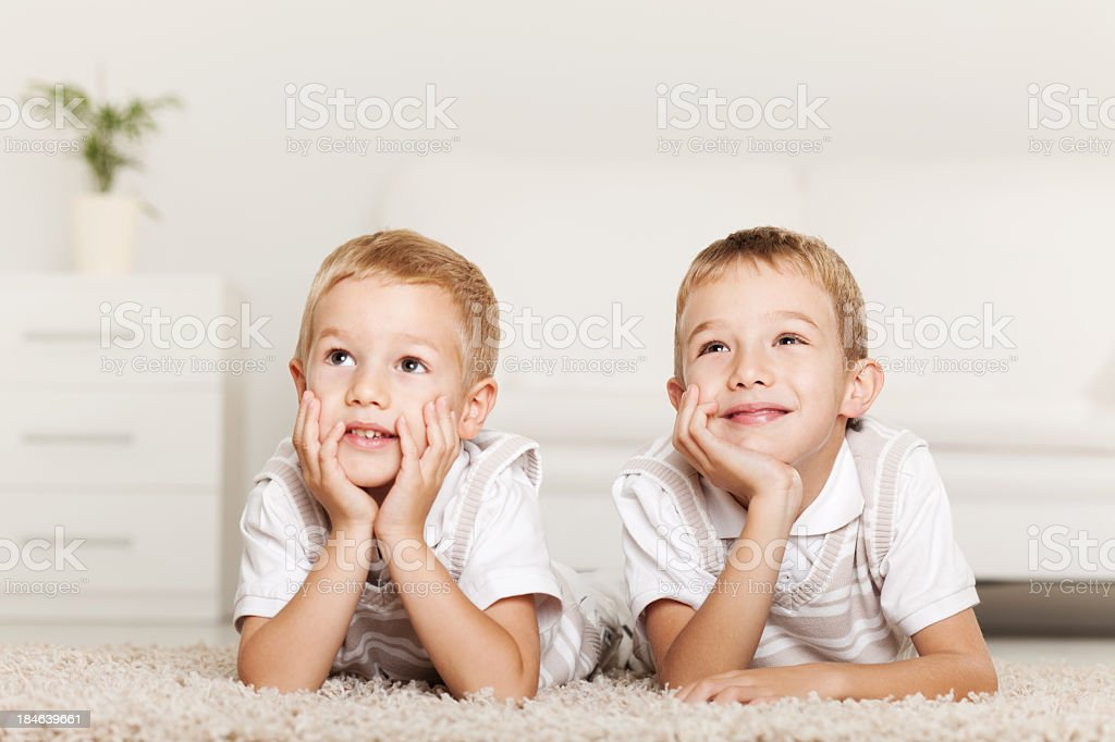 Two Little Boys, Day Dreaming royalty-free stock photo
