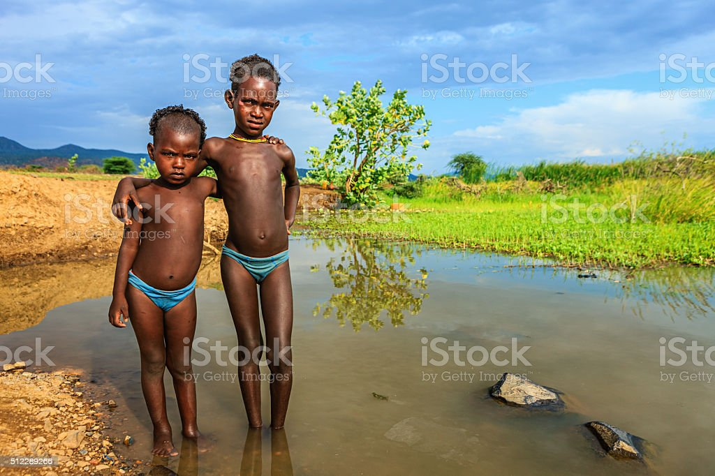 Two little boys from Samai tribe, Ethiopia, Africa stock photo