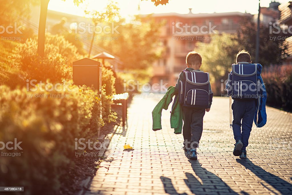 Two little boys returning from school stock photo