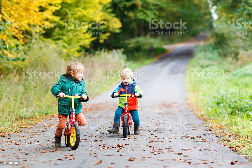 Two little children having fun on bikes in autumn forest. stock photo