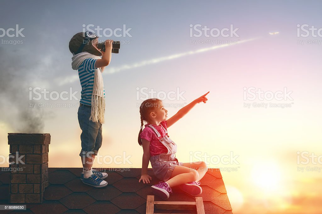 Two little children stock photo