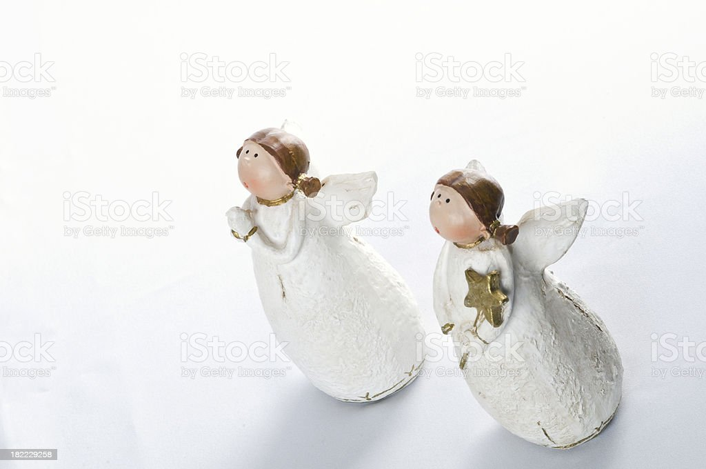 Two little chritmass praying angels royalty-free stock photo