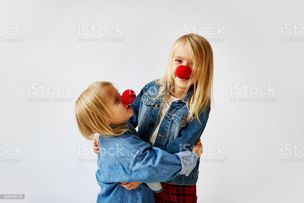 two little clowns stock photo