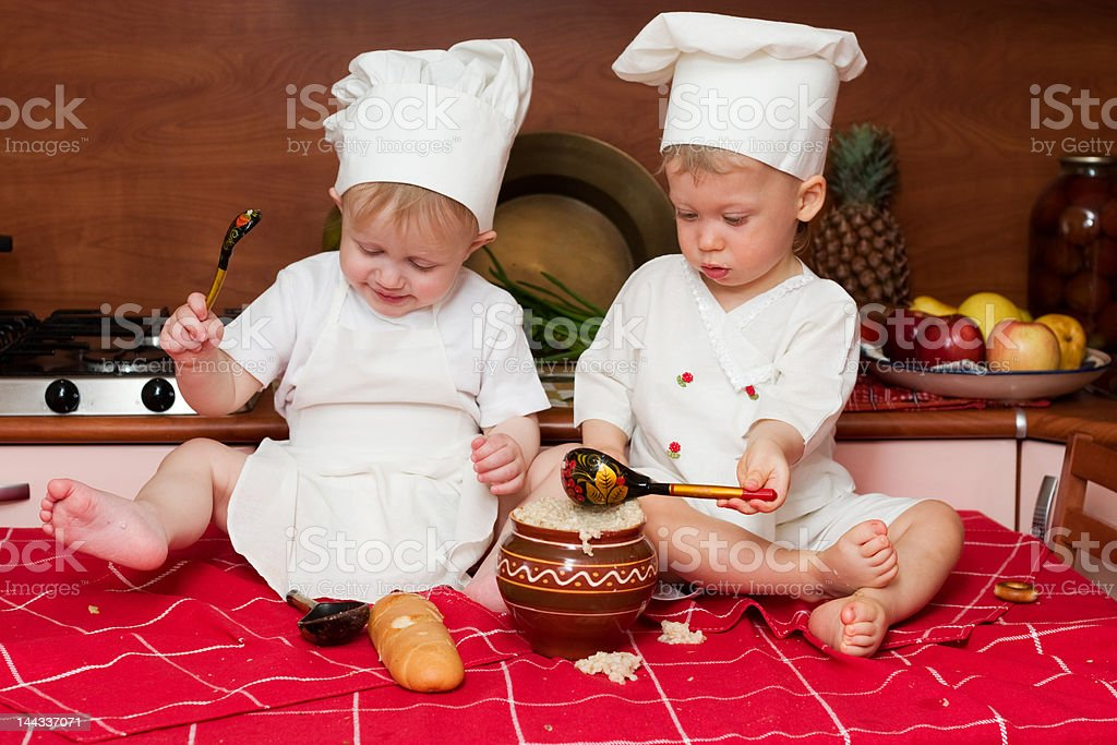 two little cooks royalty-free stock photo
