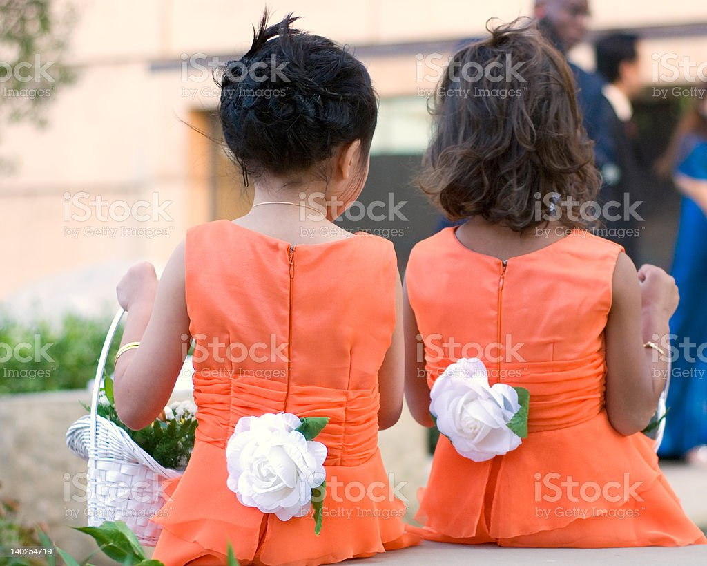 two little flower girls royalty-free stock photo