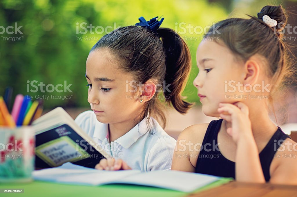 Two little girls are learning their lessons stock photo