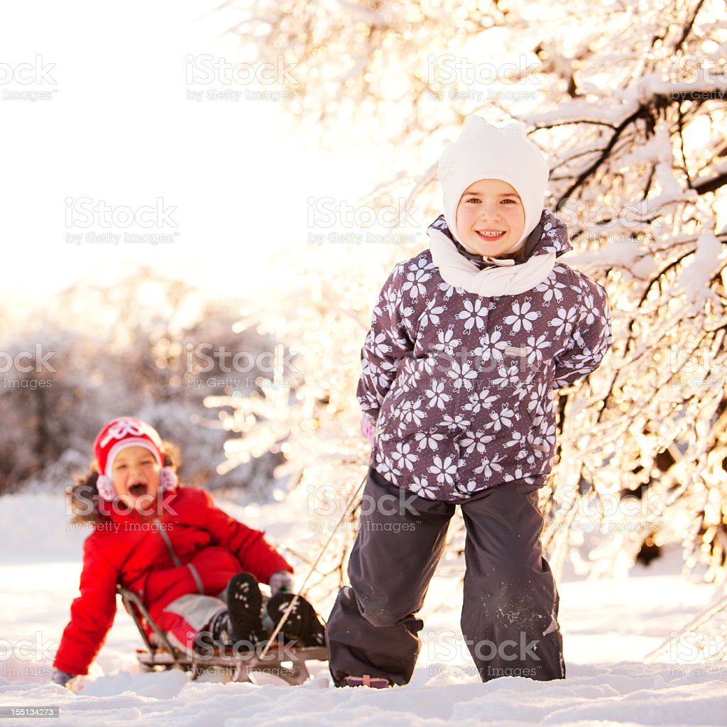 Two Little Girls Having Fun in Winter Park royalty-free stock photo