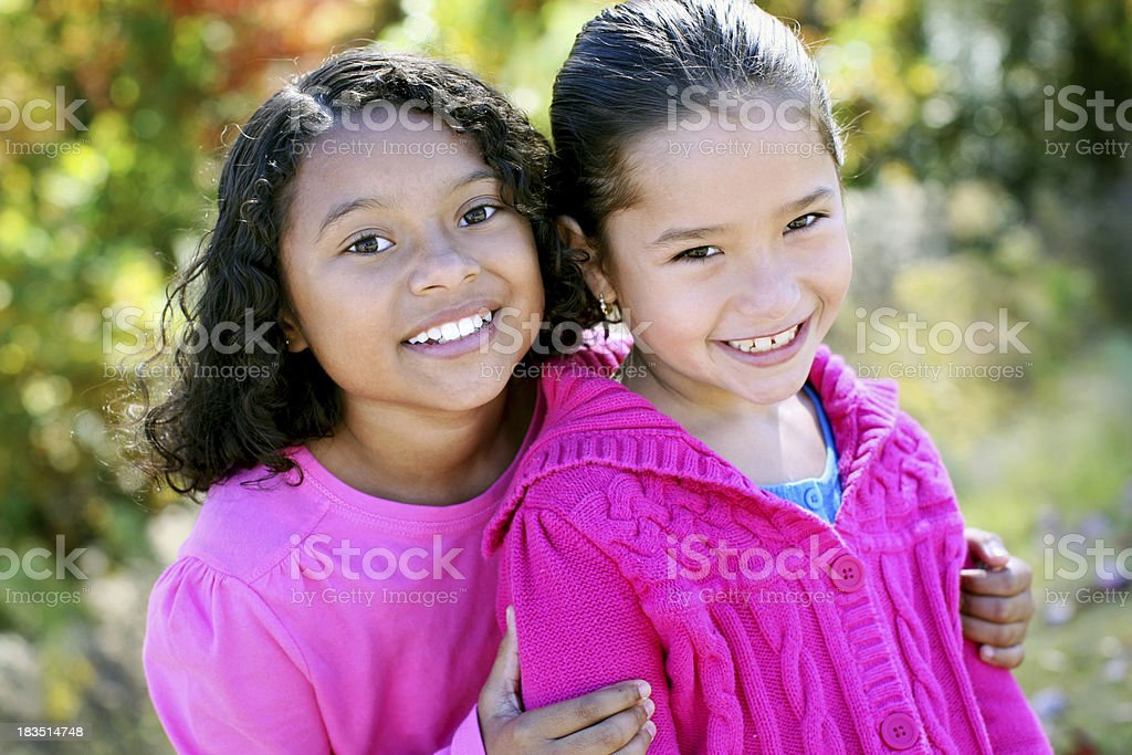 Two little girls stock photo
