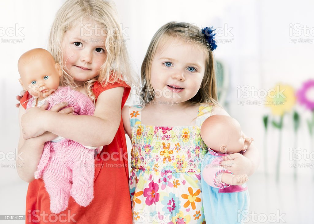 Two little girls playing together royalty-free stock photo