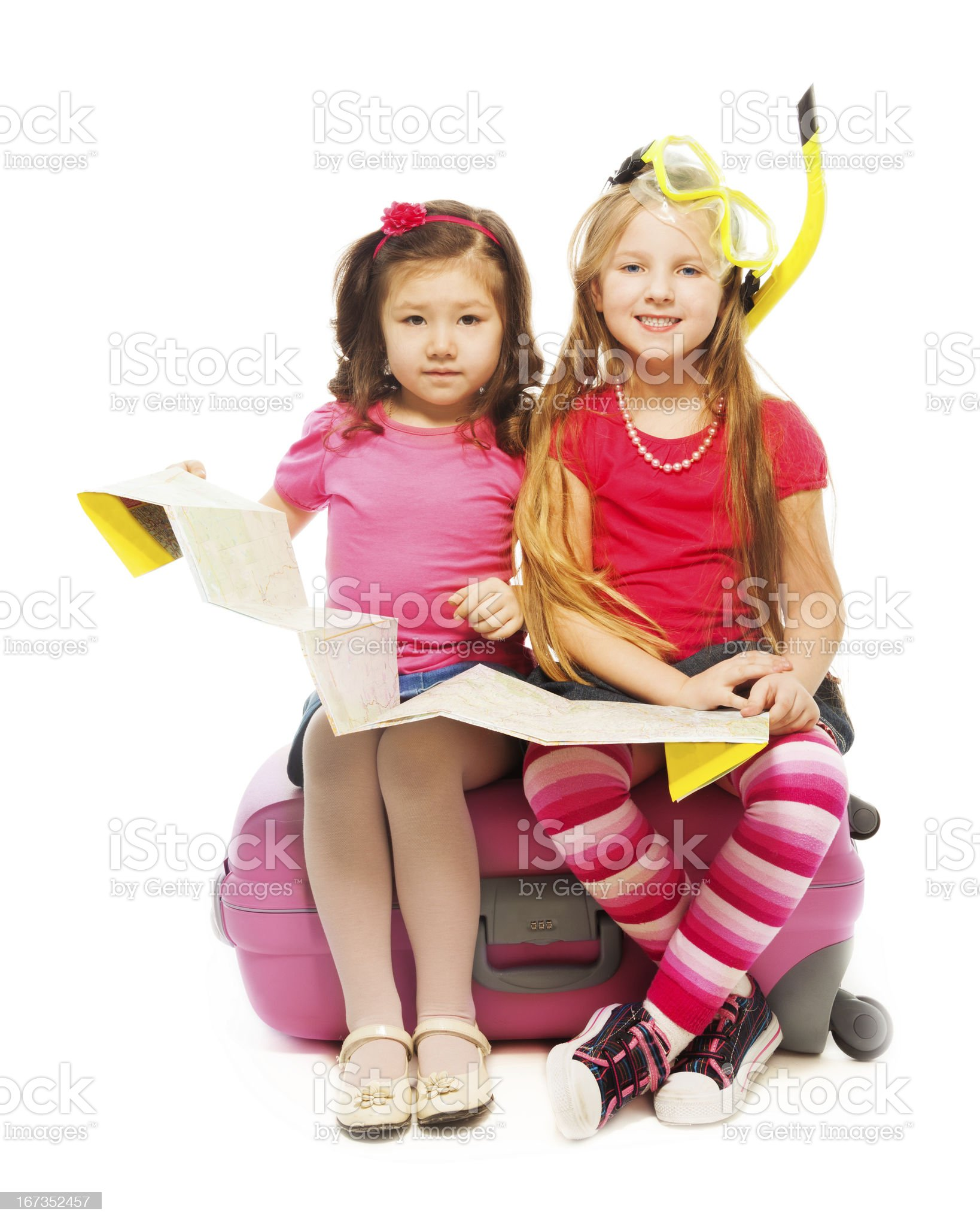 Two little girls ready for vacation royalty-free stock photo