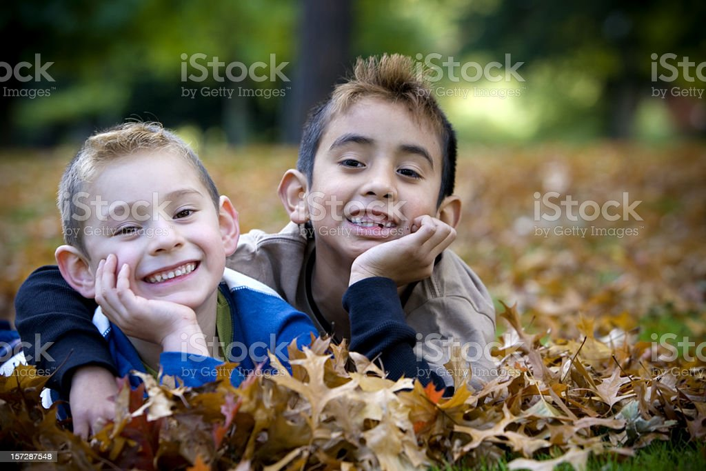 Hispanic Brothers Hugging in Pile of Fall Leaves, Copy Space royalty-free stock photo