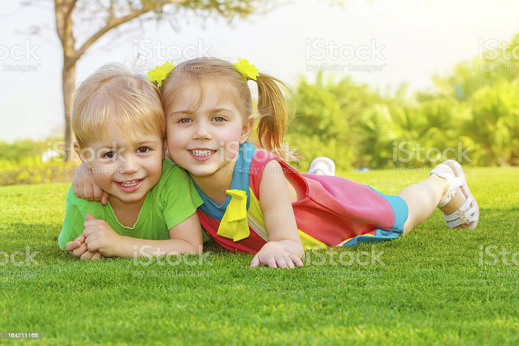 Two little kids in park royalty-free stock photo