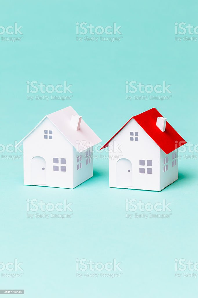 Two little paper house stock photo